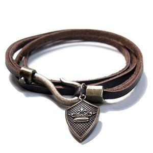 English Laundry Men's Brown Leather Wrap Bracelet